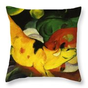 Cows Yellow Red Green 1912 Throw Pillow