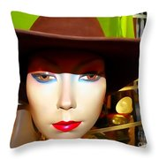 Coy Cowgirl Throw Pillow
