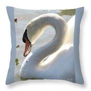 Coy Swan Throw Pillow