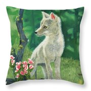 Coyote Pup Throw Pillow by Terry Lewey