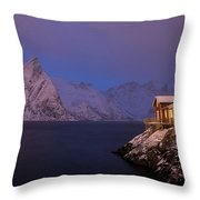 Cozy Cabin By The Fjord Throw Pillow
