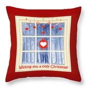 Cozy Christmas Card Throw Pillow
