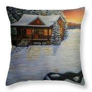 Cozy Winter Cabin  Throw Pillow