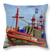 Crab Boat Throw Pillow
