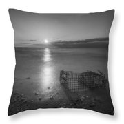 Crab Trap Sunset Le Bw Throw Pillow