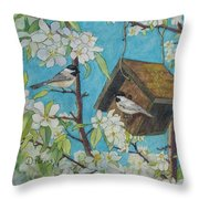 Crabapple Chickadees Throw Pillow