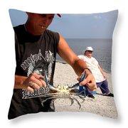 Crabbin For Blues Throw Pillow