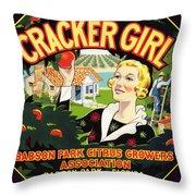Cracker Girl Citrus Crate Label C. 1920 Throw Pillow