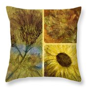 Crackled Floral Throw Pillow