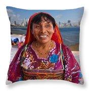 Craft Vendor In Panama City, Panama Throw Pillow