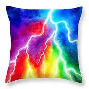 Rainbow Color Lightning Throw Pillow
