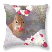 Cranberry Garlands Christmas Squirrel Throw Pillow