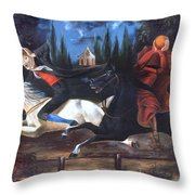 Crane And Horseman Throw Pillow