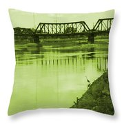 Crane At The River Throw Pillow
