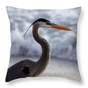 Crane By The Sea Throw Pillow