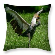 Crane On A Mission Throw Pillow