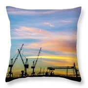 Crane You Neck To The Sunrise. Hamburg, Germany. Throw Pillow