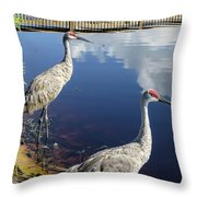 Cranes At The Lake Throw Pillow