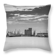 Cranes At The Port Of Thessaloniki Throw Pillow