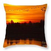 Cranes In The Morn Throw Pillow
