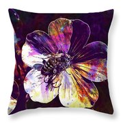 Cranesbill Flower Close Bee Insect  Throw Pillow