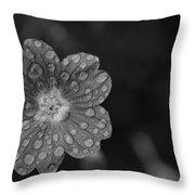 Cranesbill Geranium In Black And White Throw Pillow