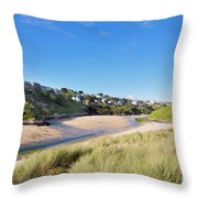 Crantock And The Gannel Throw Pillow