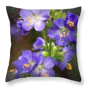 Craquelure On Blue Throw Pillow