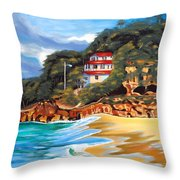 Crash Boat Beach Throw Pillow