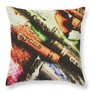 Crash Test Crayons Throw Pillow
