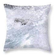 Crashing Against Lava Rocks Throw Pillow
