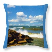 Crashing Into Shore Throw Pillow