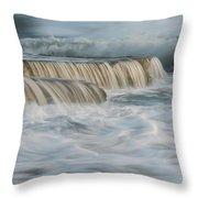 Crashing Sea Waves And Small Waterfalls Throw Pillow