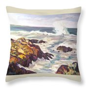 Crashing Wave On Maine Coast Throw Pillow