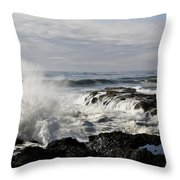 Crashing Waves At Cape Perpetua Throw Pillow