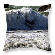 Crashing Waves At Goat Rock Throw Pillow