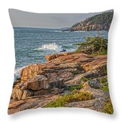 Crashing Waves At Otter Cliff Throw Pillow