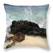 Crashing Waves At Sugar Beach Throw Pillow