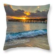 Crashing Waves At Sunrise Throw Pillow