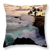 Crashing Waves At Sunset Throw Pillow