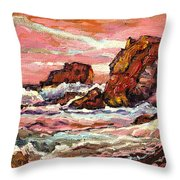 Crashing Waves At Sunset  Majestic Seascape Throw Pillow