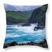 Crashing Waves - Nakalele Point  Throw Pillow