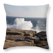 Crashing Waves On Maine Coast Rocks  Throw Pillow