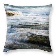Crashing Waves On Sea Rocks Throw Pillow