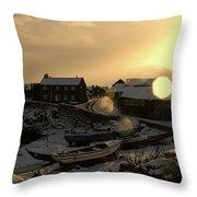 Craster Harbour In Winter 2 Throw Pillow