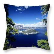 Crater Lake Throw Pillow by Allan Seiden - Printscapes