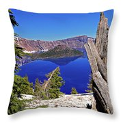 Crater Lake And Wizard Island Throw Pillow
