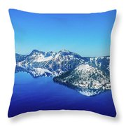 Crater Lake Blue Throw Pillow