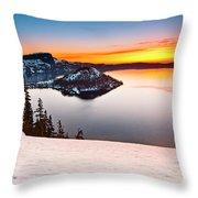 Crater Lake Dawn Throw Pillow