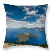 Crater Lake From Watchman Overlook Throw Pillow